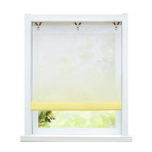 ESLIR Raffrollo ohne Bohren Raffgardine Transparent mit Ösen Farbverlauf Gardinen mit Haken Ösenrollo Modern Vorhänge Gelb BxH 120x130cm 1 Stück
