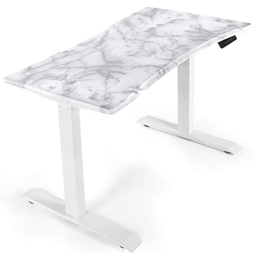 """AECOJOY Electric Standing Desk with 43.3 x 23.6"""" Marble Wood Table Top, White Dual Motor Frame, Height Adjustable Stand Up Workstation with Memory Preset Controller"""