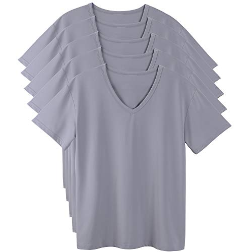 SEDORELAR[5枚組] インナーシャツ メンズ 肌着 防菌防臭 Vネック半袖 グレー LグレーL
