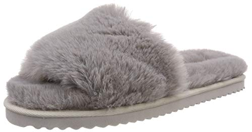 flip*flop Damen Slide Fur Sandalen, Grey, 41 EU