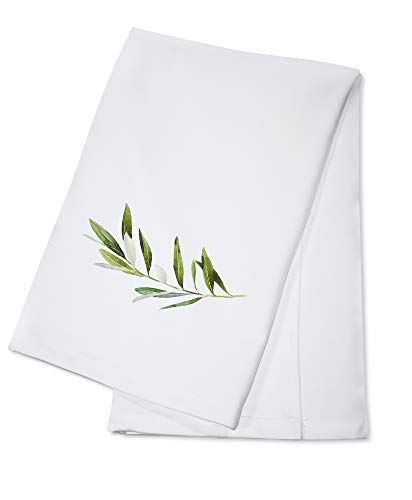 Hand Drawn Watercolor Illustration of Olive Branch on White Background 9014431 (100% Cotton Kitchen Towel)