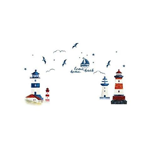 Trada Mediterrane Leuchtturm Hintergrund Dekoration, DIY Familie Removable Wall Decal Familie Home Aufkleber Wand Kunst Home Decor Schlafzimmer Wohnzimmer Wandaufkleber Abnehmbare (Mehrfarbig)