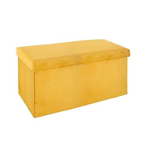 Pouf pliable - L 76,6 x l 38 x H 37,5 cm - Velours - Jaune moutarde