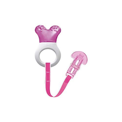 MAM Cooler & Clip kühlender Beißring, Zahnungshilfe mit Clip für einfaches Befestigen, extra kleiner und leichter Beißring für Babys, ab 2+ Monate, pink