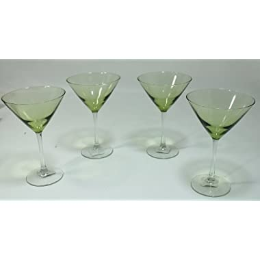Olive Green, Clear Stem, Two-Tone Martini Glasses - Set Of 4