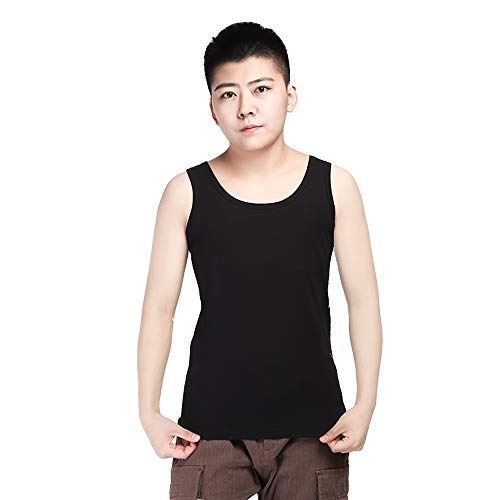 BaronHong Plus Size Chest Binder Cotton Vest Tank Tops for Tomboy Lesbian(Black,XXL)