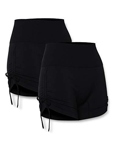 AURIQUE Damen Yoga-Shorts, 2er-Pack, Schwarz (Schwarz & Schwarz), 36, Label:S
