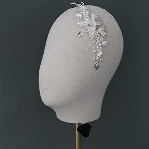 Peineta para el pelo de boda, color plateado, con hojas de plata,...