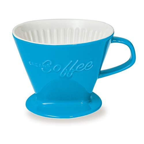 Creano Porzellan Kaffeefilter (Blau), Filter Größe 4 für Filtertüten Gr. 1x4, ca. 800gr Gewicht für extrem sicheren Stand, Achtung schwer, in 6 Farben erhältlich