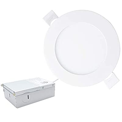 Sivys Ultra Thin Recessed Round Panel Ceiling Light with Junction Box, Dimmable Airtight Downlight, ETL&Energy Star Wafer Light