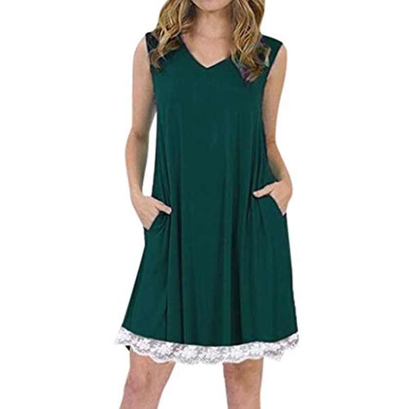 iTLOTL Formal DressesFor Women V-Neck Sleeveless Spaghetti Strap Lace Patchwork Plain Shift Dress