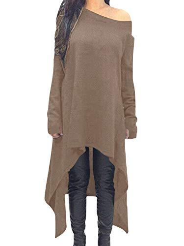ZANZEA Women's Asymmetric Hem Long Sleeve Casaul Loose Hoodies High Low Drop Shoulder Longline Sweatshirts Jumper Pullover Tunic Tops 1-Brown S