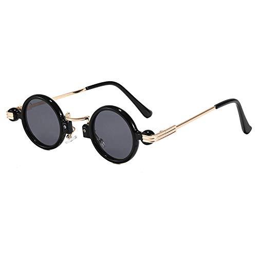 Gafas de sol retro europeas y americanas, personalidad femenina, gafas de sol redondas de hip-hop, como se muestra, pieza gris con marco dorado negro