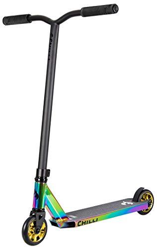Chilli Rocky Scooter 360 Limited Edition neochrome/gold | Erstklassiger Stunt-Scooter | Robuster Roller, drehbarer Lenker ideal für Tricks geeignet | Leicht & schnell für maximales Fahrvergnügen
