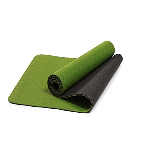 N\C Esterilla de Yoga Protección del Medio Ambiente Absorbente de Sudor Antideslizante TPE Monocromo Bicolor Engrosamiento Esterilla Deportiva Plegable Estera de Viaje al Aire Libre Alfombra