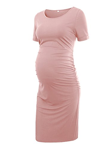 Liu & Qu Women's Maternity Bodycon Ruched Side Dress Casual Short & 3/4 Sleeve Dress for Daily Wearing Or Baby Shower Dark Pink