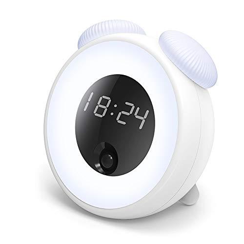Heqianqian-Home Horloge électronique Charge LED Contrôle Vocal Night Light Balance Table Lampe Chambre À Coucher Créatif Corps Humain Temps Lumière Réveil Horloge de Chevet pour Enfants Adultes