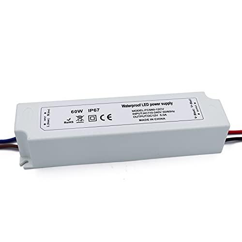 Transformador LED 12V, Transformador 220V a 12V, 60W 5a IP67 Impermeable Voltaje constante para lámparas LED GU4 MR11 MR16 luces de tira LED