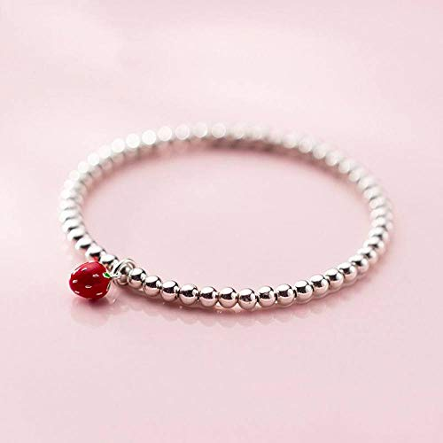 BENGKUI Women'S 925 Sterling Silver Bracelet,Fashion Bracelet 3D Strawberry Beads Elastic Bracelet For Women Girls Wedding Jewelry Gift For Women Birthday Gifts For Mum Wife