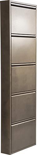 Kare Design Schuhkipper Carusa, Metall, schmal, klein, Bronze, 5 Klappen, Flurmöbel, Schuhablage, 42561, (H/B/T) 170x50x14cm
