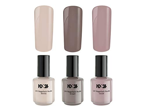 3 x 15ml - LOVELY NUDE Collection SPAR SET - UV Nagellack - UV LED Color Nail Polish BRAUN HAUT FARBEN - GelLack Soak Off Gel - MADE IN GERMANY