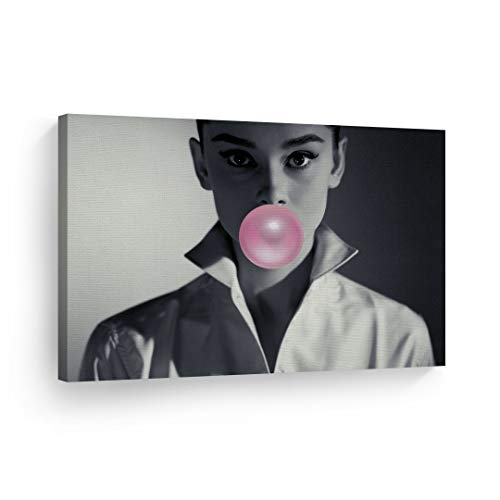 Audrey Hepburn Bubble Gum Chewing Gum Black and White Shirt Canvas Print Home Decor/Iconic Wall Art/Gallery Wrapped Canvas Art Stretched/Ready to Hang 8x12
