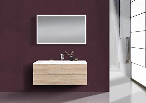 Intarbad ~ Badmöbel Set grifflos CUBO 1200 mm Waschtisch Evermite, Unterschrank und Led Spiegel Bramberg Fichte