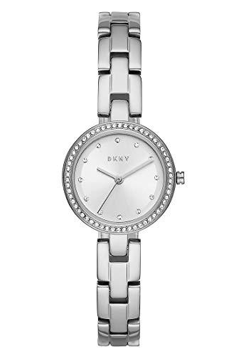 DKNY City Link Dreihand-Edelstahluhr für Damen in Silber mit Kristallindizes - NY2824