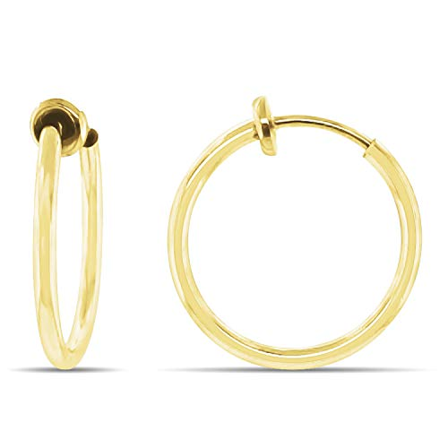 Aloha Earrings - Clip On Hoop Earrings for Women - Silver and Gold-Tone Brass Spring Hoops for Non-Pierced Ears (Gold Small)