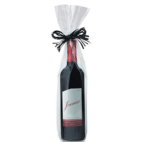 Bolsas de celofán transparente, 100 bolsas de celofán para botellas de vino, 5 x 4 x 18 pulgadas, bolsas de regalo para vino