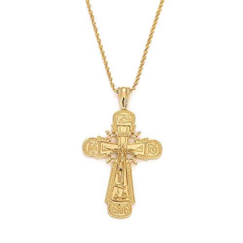 Naswi Collar con Colgante de Cruz de Jesucristo de Color Dorado de 24 k, joyería de Cruz católica para Mujer