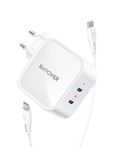 RAVPower USB C Ladegerät 90W PD mit USB C auf USB C Kabel und GaN Tech, 2 Port USB C Netzteil für MacBook Pro iPad Pro, Google Pixel, Nintendo Switch, iPhone 11/12 Pro Max XS XR, Galaxy und mehr