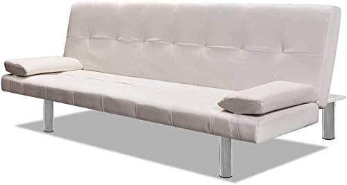 Divano letto regolabile con 2 cuscini, soggiorno in pelle sintetica,Grayish