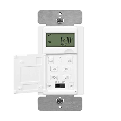 ENERLITES - HET01-C-W Programmable Digital Timer Switch for Lights, Fans, Motors, 7-Day 18 ON/OFF Timer Settings, Single Pole, Neutral Wire Required, UL Listed, HET01-C, White