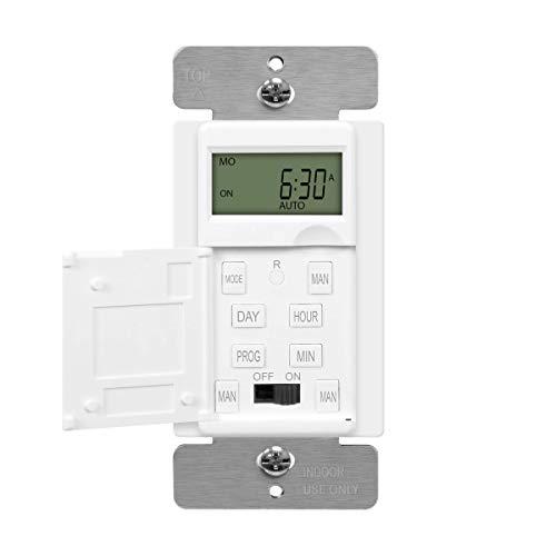 ENERLITES - HET01-C-W Programmable Digital Timer Switch for Lights, Fans,...