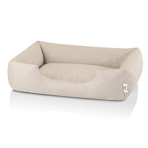 BedDog Zara colchón para Perro S hasta XXXL, 10 Colores, Cama para Perro, sofá para Perro, Cesta para Perro, L, Light-Sand (Beige Claro)