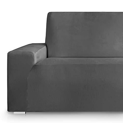 Vipalia Fundas Sofa elasticas. Funda Sofa 3plazas Ajustable. Cubresofas Terciopelo. Protector Antimanchas. Confort Suavidad. Gris 3 Plazas (175-225cm)