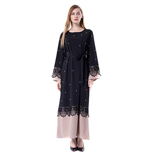 ZEZKT Damen Muslimische Kleider, Kaftan Maxikleid Langarm Elegante moslemische Kleid Wolljacke-Robe-türkische islamische Gebets-Kleidung Hijab
