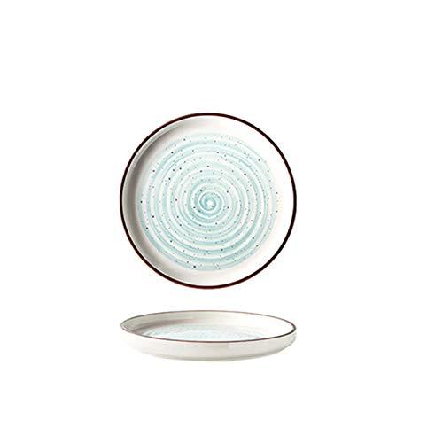 Mrjg Platos 1 unids Plato de Porcelana de cerámica Cena Redonda Placa de Filete Ensalada o Platos de Postre 8/10 Pulgadas (Color : Blue 10inch)