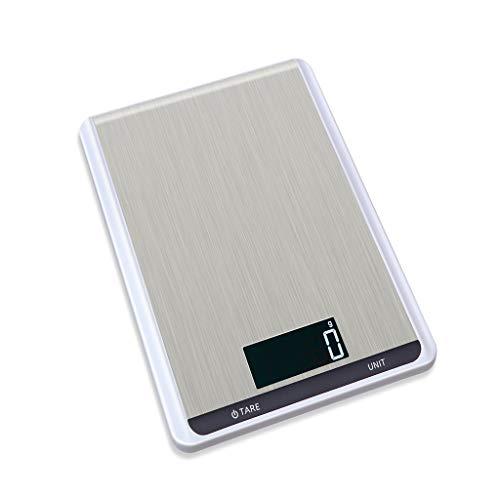 ODJOY-FAN Edelstahl Küchenwaage Elektronisch Waage 10 kg Digital Rahmen Küche Messen Werkzeuge Edelstahl Stehlen Elektronisch Gewicht(Weiß,1 PC)