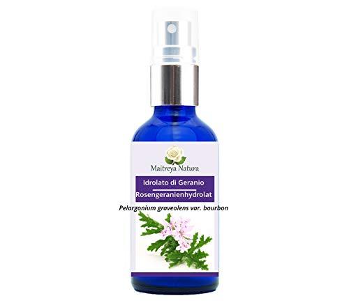 Maitreya Natura HYDROLAT DE GÉRANIUM Bio, 100% pur et naturel, 100ml - aromathérapie, eau parfumée, cosmétique - qualité contrôlée et certifiée, sans cruauté, végétalien