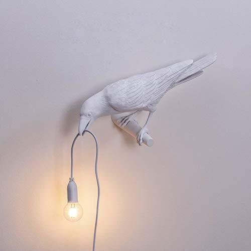 Lampe De Table LED Oiseau Lumière Italienne Seletti, Lampe Murale Créative Moderne Oiseau LED Chambre Chevet Luminaires Applique Murale en Résine USB,Blanc,Wall Right