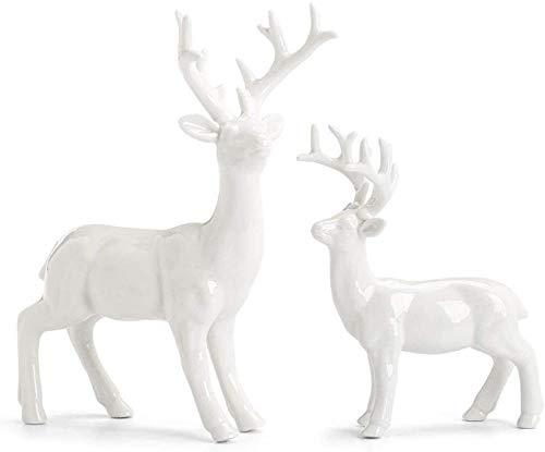 WPXBF Estatuas y estatuillas Adorno de Estatua 2 unids/Set Cerámica Whiteware Estatua de Ciervo Animales Artesanía Decoración del hogar