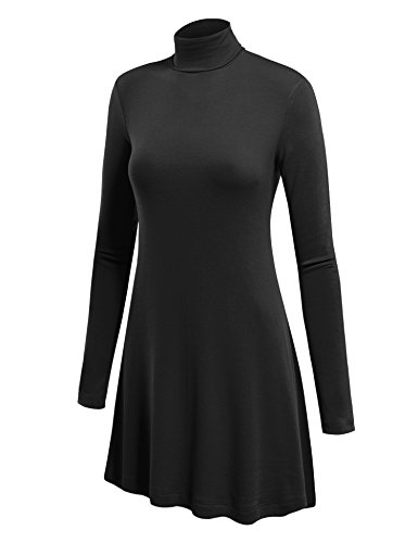 Lock and Love WT992 Womens Long Sleeve Turtleneck Sweater Tunic with Various Hem XXL Black