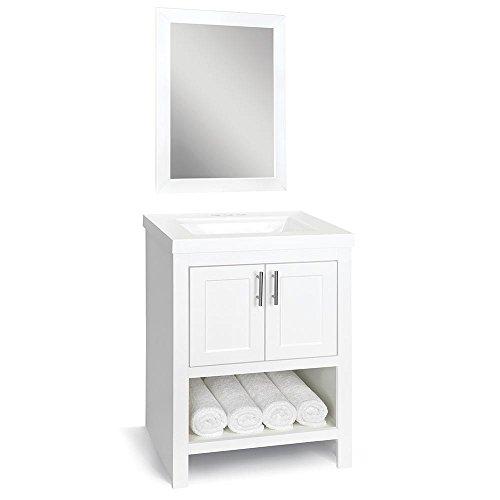 Glacier Bay Spa Bathroom Vanity White Top Cabinet Mirror 24 in. W -
