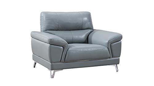 American Eagle Furniture EK151 Modern Upholstered Top Grain Leather Living Room Chair, Greyish Blue