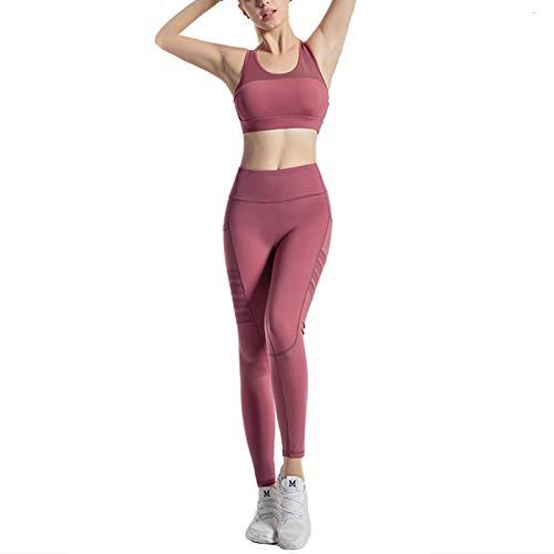 Traje De Fitness para Mujer, Conjunto De Leggings De Yoga Sin Costuras con Ventilación Sexy, Elasticidad De Cuatro Vías con Traje De Sujetador Deportivo, Apto para Fitne(Size:Grande,Color:Rojo)