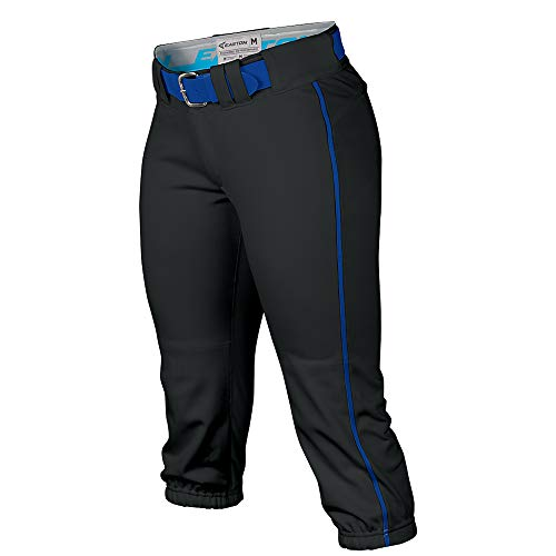 EASTON PRO Fastpitch Softball Pant | Womens | Large | Black / Royal Piped | 2020 | Sewn Down Set In Back Pockets | Pro Style Belt Loop System | 2 Color Internal Waistband