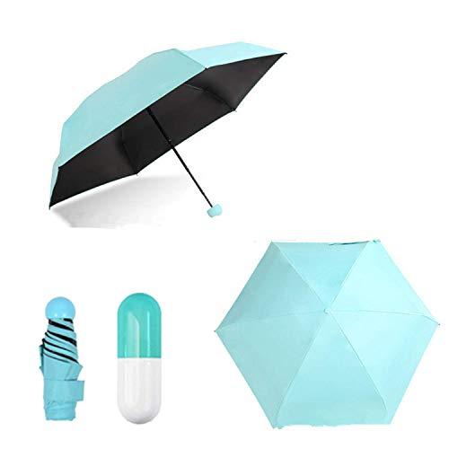 0.5lb / 7inch Ultra Light Mini Anti-UV Umbrella with Capsule Case, Compact Folding Umbrella for Women Girl Child, Your Intimate Helpmate in This Season! (Blue)