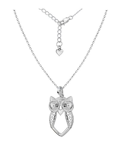 Lily & Lotty Rhodium Plated 925 Sterling Silver Hand Set Diamond Athena Owl Necklace of Length 40-45 cm